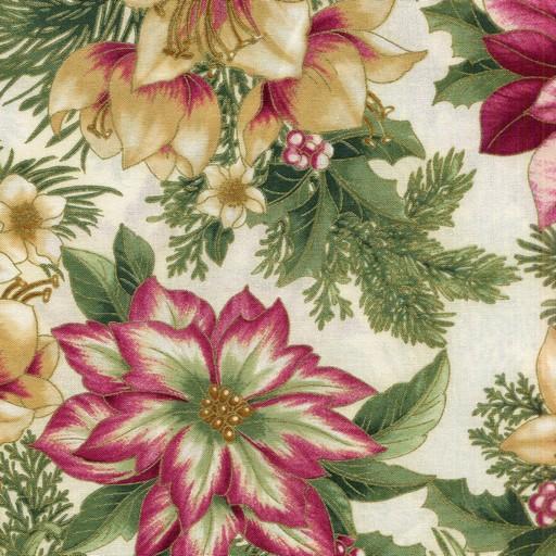 Holiday Flourish 7 14552-274 Poinsettia and Foliage. Poinsettias on cream background