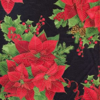 Holiday 1940 Large Poinsettias - Black