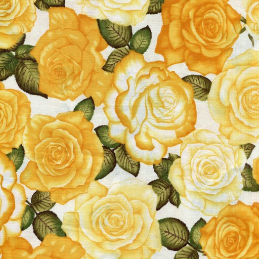 Roses - Yellow on White