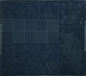 Joyful Family Carp Sashiko Panel - Indigo