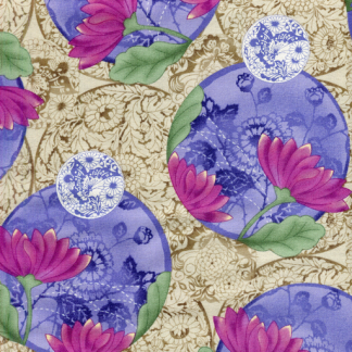 Floral Medallion 3KSA-2 Purple