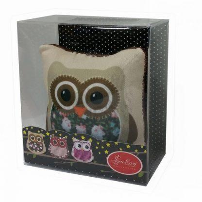 Image of Owl Pin Cushion (Brown) in box