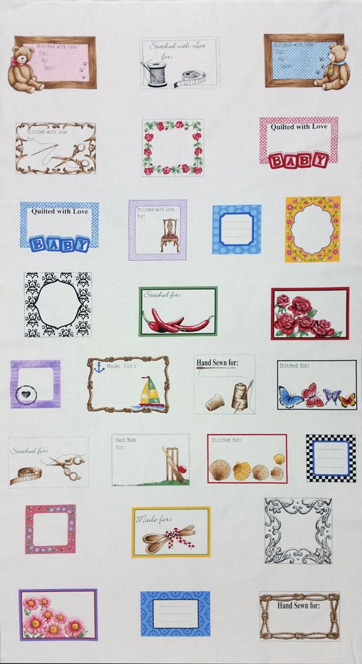 Quilt Labels for all Occasions Panel - White