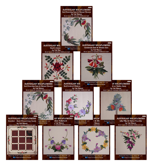 The full set of 10 Australian Wildflowers Patterns by Val Moore