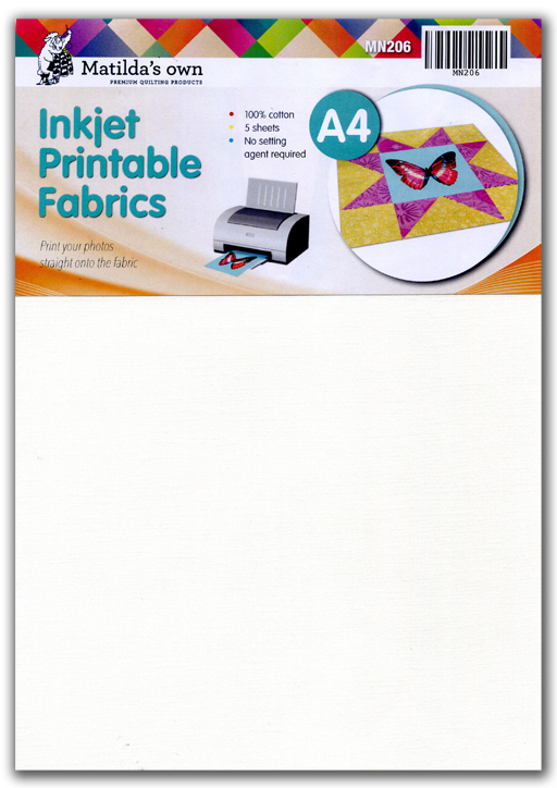 graphic relating to Printable Fabric Paper called Inkjet Printable Materials - A4 x 5 Sheets