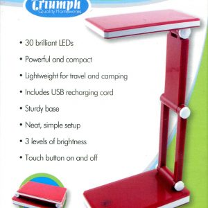 LED Rechargeable Folding Desk Lamp – Red. Triumph Quality Homewares. OD188-R