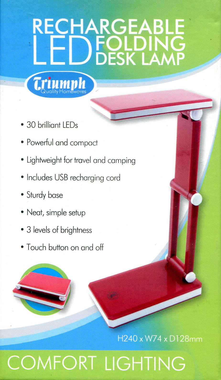 LED Rechargeable Folding Desk Lamp - Red. Triumph Quality Homewares. OD188-R