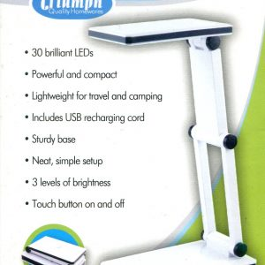 LED Rechargeable Folding Desk Lamp – White. Triumph Quality Homewares.  OD188-W