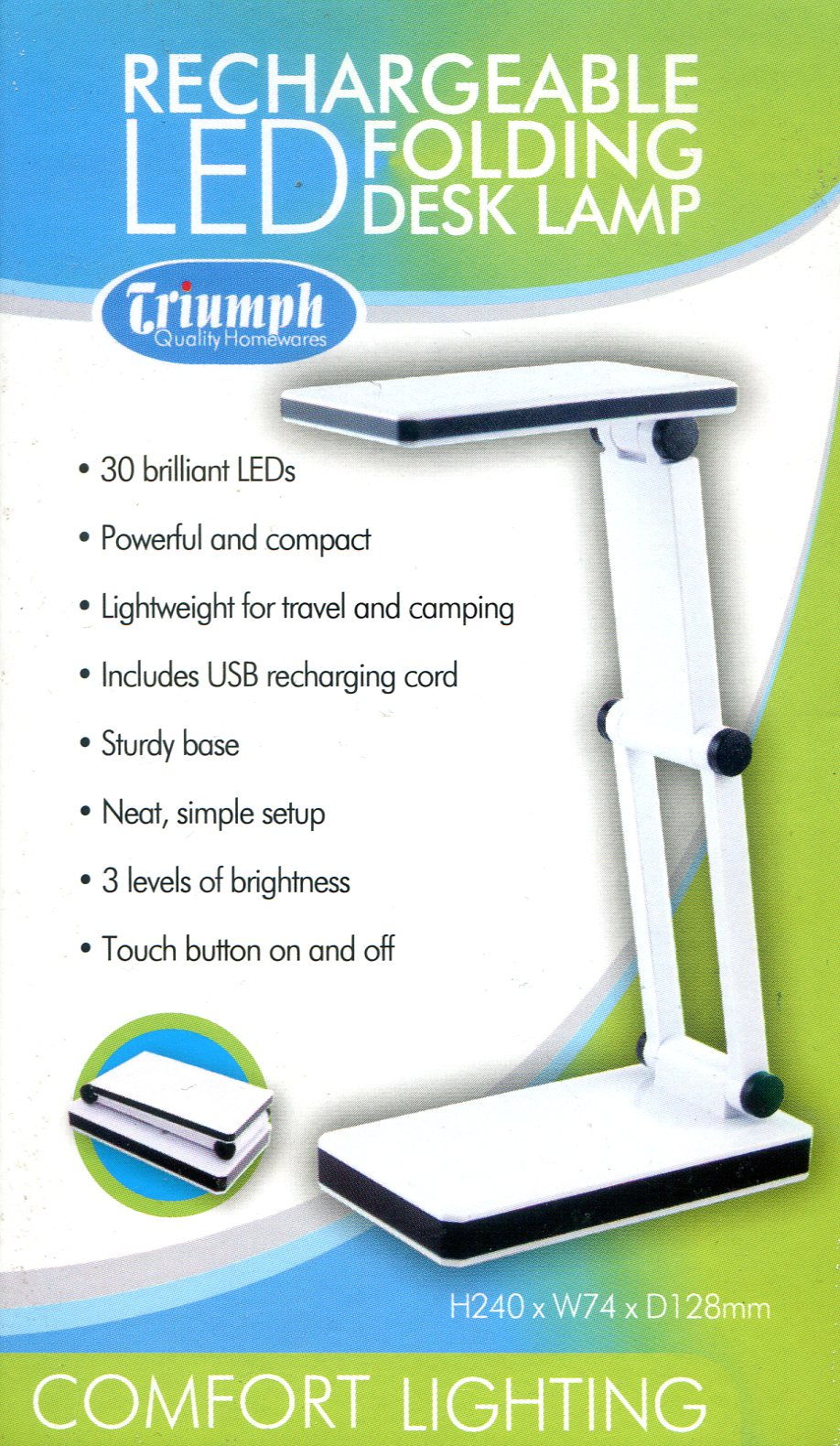 LED Rechargeable Folding Desk Lamp - White. Triumph Quality Homewares. OD188-W
