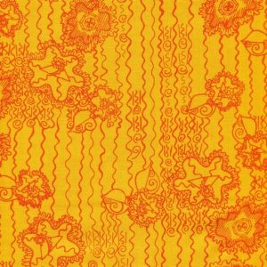 Contemporary Floral on Orange Background