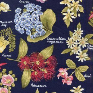 Flowers of Aotearoa - Navy 7386-2