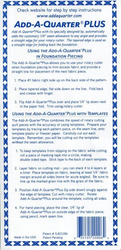 ADD-A-QUARTER PLUS Instructions