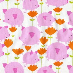 Pigs and Flowers - White PWDW064-PINKX