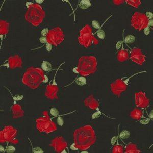 Tossed Rose Buds C5048-Black