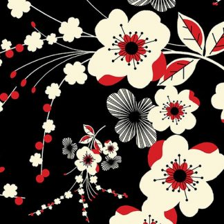 Plum Flower - Black 8549-12