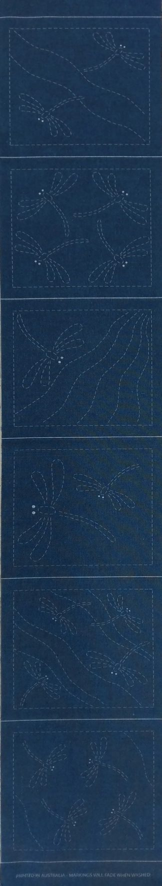 Sashiko Panel Dragonfly Coaster Runner Set No.DFCR-Blue