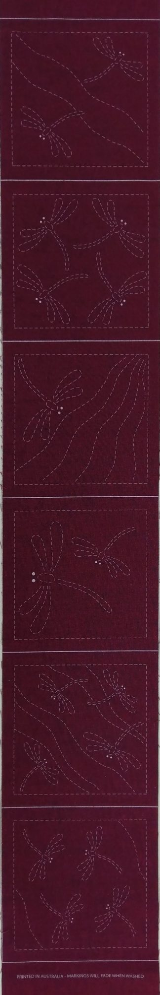 Sashiko Panel Dragonfly Coaster Runner Set No.DFCR-Cherry Red