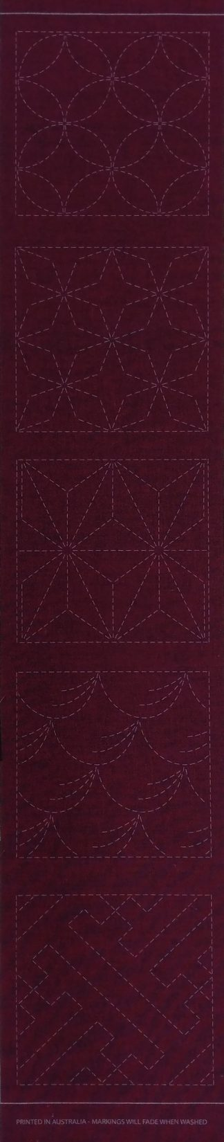 Sashiko Panel Runner No.GEO1-Cherry Red