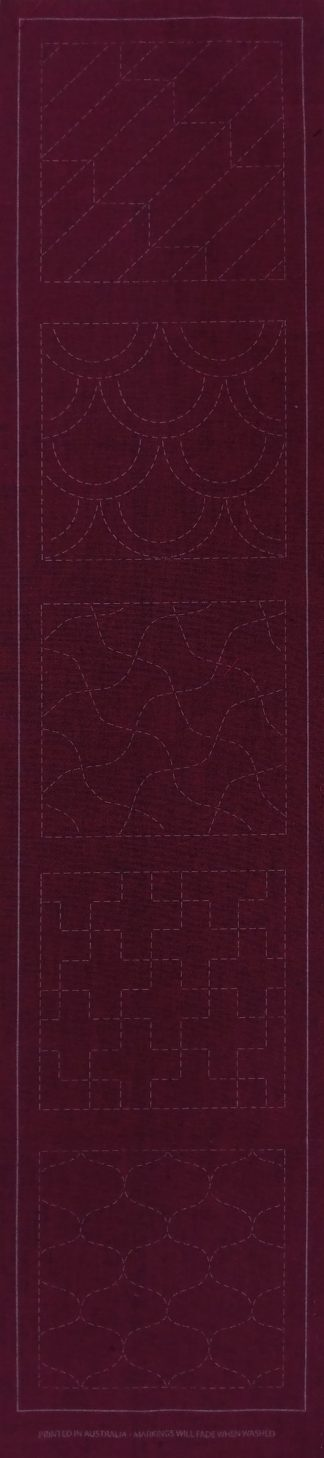 Sashiko Panel Runner No.GEO2-Cherry Red