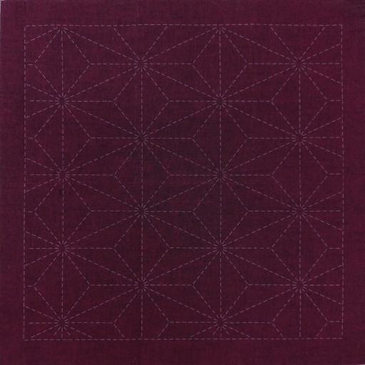 Sashiko Panel Hemp Leaf (Asanoha) No.INS2-Cherry Red