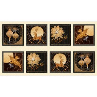 Winter Gold Picture Patches Panel 25956-E