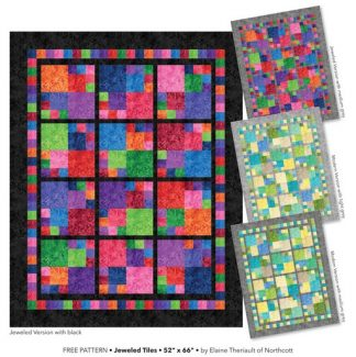 Jeweled Tiles by Elaine Theriault - Free Pattern using Essence fabric range