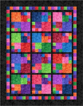 Jewel Tiles Quilt Kit - Jewel Version with Black