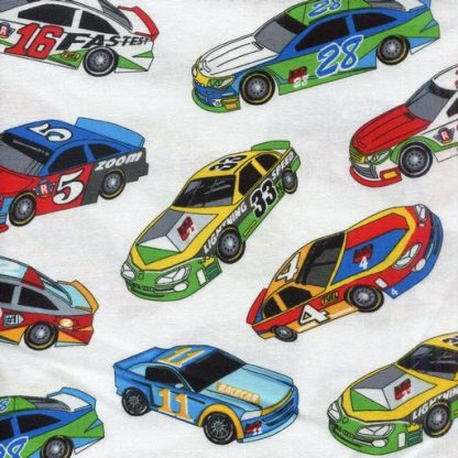 Racing Cars White and Multi 1173-80