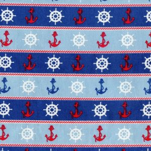 Ships Wheels and Anchors – Blue B2119-12