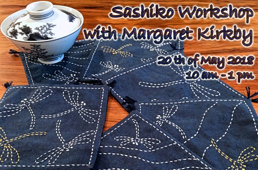 Sashiko Workshop with Margaret Kirkby. 20th of May 2018. 10 am - 1 pm.