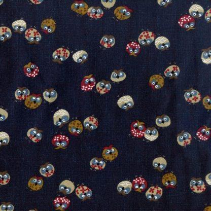 Traditional Japanese Owls - Indigo 3375-W-16-A