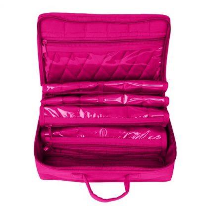 Mini Organizer - Large (Fuchsia). Open bag image.