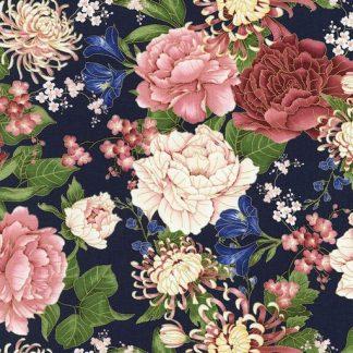 Chrysanthemums and Peonies - Navy