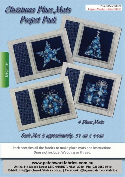 Christmas Place Mats Project Pack - Blue and Silver