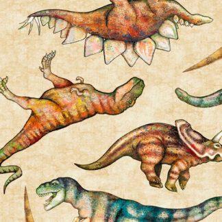 Tossed Dinosaurs 26800-E Tan