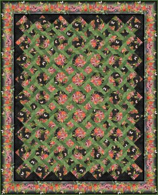 Australian Garden Twist Quilt Kit - Queen Size (Black)