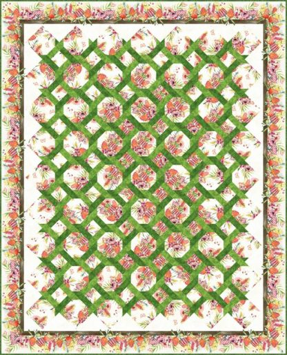 Australian Garden Twist Quilt Kit - Queen Size (Cream)