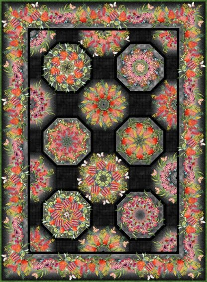 Australian One-Fabric Kaleidoscope Quilt Kit - Black