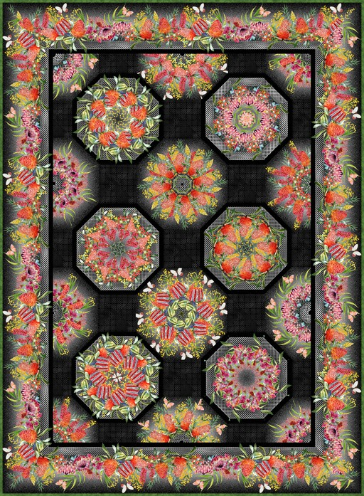 Australian One Fabric Kaleidoscope Quilt Kit Black
