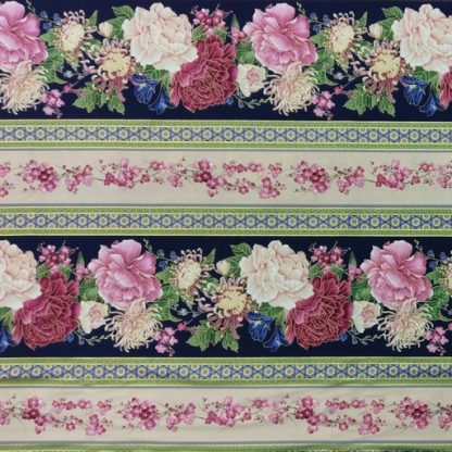 Flower Border Stripe CM6157-BLUE
