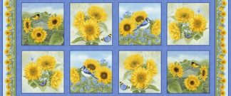My Sunflower Garden Panel - Blue 1377-74