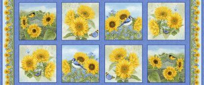 My Sunflower Garden Panel - Blue 1377-74