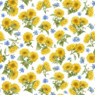 Tossed Sunflowers - White 1381-7