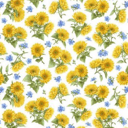 Tossed Sunflowers - White 1381-7