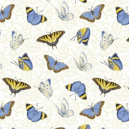 Tossed Butterflies - White 1382-7