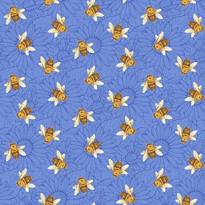 Tossed Bees - Blue 1384-74