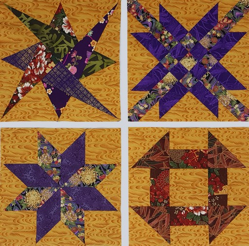 Sampler patchwork blocks by Margaret Kirkby. Class image.