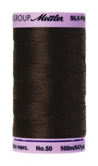 Mettler Silk-finish Cotton 50W 1002 Very Dark Brown 500m Spool